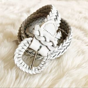 3/$20 white leather braided belt medium large